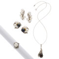 Estate Jewelry:Lots, Cultured Pearl, Diamond, White Gold Earrings. ... (Total: 4 Items)