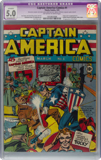 Captain America Comics #1 (Timely, 1941) CGC Apparent VG/FN 5.0 Extensive (P) Off-white to white pages