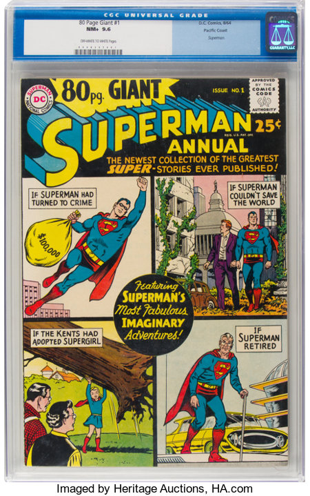 80 Page Giant #1 Superman - Pacific Coast Pedigree (DC, 1964) CGC NM+ 9.6 Off-white to white pages....