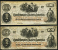 Confederate Notes:1862 Issues, T41 $100 1862 PF-6 Cr. 319 Very Fine;. T41 $100 1862 PF-22 Cr. 320A Fine-Very Fine.. ... (Total: 2 notes)