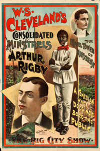 Arthur Rigby: A Comedian Who Does Not Bore the Public (W.S. Cleveland's Consolidated Minstrels, c.1890s). Fine+ on Paper...