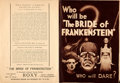 """Movie Posters:Horror, The Bride of Frankenstein (Universal, 1935). Very Fine-. Herald (Closed: 7"""" X 9.75"""", Open: 9.75"""" X 14.25"""").. ..."""