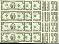 Complete Atlanta Block Set with Star and More Fr. 1936-F (21); F* (2) $2 1995 Federal Reserve Notes. Uncut Sheet of Four...