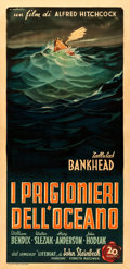 "Movie Posters:Hitchcock, Lifeboat (20th Century Fox, 1948). Very Fine- on Linen. FirstPost-War Release Italian Poster (39.5"" X 81.5"") Alfredo Capita..."