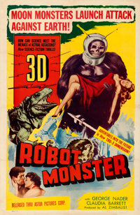 "Robot Monster (Astor Pictures, 1953). Very Good/Fine on Linen. One Sheet (27"" X 41"") 3-D Style"