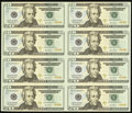 Small Size:Federal Reserve Notes, Fr. 2091-A* $20 2004A Federal Reserve Star Notes. Uncut Sheet ofEight. Gem Crisp Uncirculated.. ...