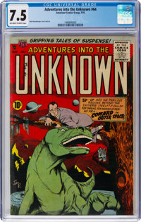 Adventures Into The Unknown #64 (ACG, 1955) CGC VF- 7.5 Off-white to white pages