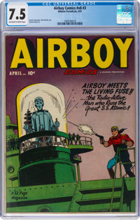Airboy Comics V8#3 (Hillman Fall, 1951) CGC VF- 7.5 Off-white to white pages
