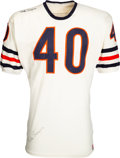 Football Collectibles:Uniforms, Late 1960's Gale Sayers Game Worn & Signed Chicago Bears Jersey, MEARS A10....