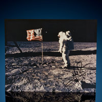 "Neil Armstrong Signed Lunar Surface Color Photograph 8"" x 10"" PSA/DNA Grade 9"