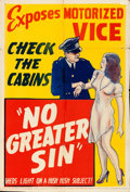 "Movie Posters:Exploitation, No Greater Sin (Alexander International Film, 1941). Folded, Fine/Very Fine. One Sheet (28"" X 41""). From the collection of..."