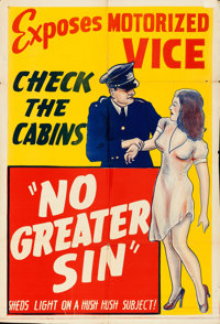 "No Greater Sin (Alexander International Film, 1941). Folded, Fine/Very Fine. One Sheet (28"" X 41""). From the c..."