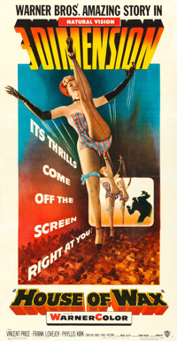 "House of Wax (Warner Brothers, 1953). Fine/Very Fine on Linen. Three Sheet (41"" X 79""). 3-D Style"