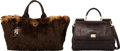 Luxury Accessories:Bags, Set of Two: Dolce & Gabbana Brown Python Sicily Bag & Prada Brown Faux Fur Tote Bag. Condition: 3. See Extended Condit... (Total: 2 )