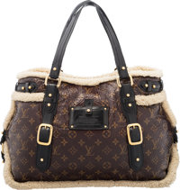 "Louis Vuitton Limited Edition Brown Monogram Patent Leather & Shearling Thunder Bag Condition: 3 20"" Width..."