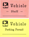 Music Memorabilia:Memorabilia, Two Rare Woodstock Parking Permits (1969). . ...