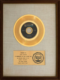 """Steppenwolf """"Magic Carpet Ride"""" White Matte RIAA Gold Sales Award and Smothers Brothers Script. ... (Total: 2)"""