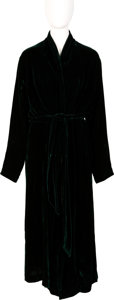 Movie/TV Memorabilia:Costumes, Farrah Fawcett Owned Dark Green Pamela Barish Robe. . ...