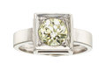 Estate Jewelry:Rings, Diamond, White Gold Ring The ring features a E...