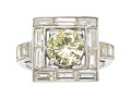 Estate Jewelry:Rings, Diamond, Platinum Ring The ring features a rou...