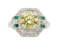 Estate Jewelry:Rings, Art Deco Fancy Yellow Diamond, Diamond, Emerald, Platinum Ring. ...