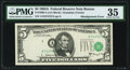 Error Notes:Shifted Third Printing, Shifted Third Printing Error Fr. 1968-A $5 1963A Federal Reserve Note. PMG Choice Very Fine 35.. ...