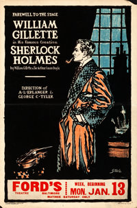 "Sherlock Holmes (1930). Fine/Very Fine. Theatrical Window Card (14"" X 21"")"