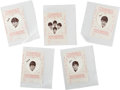 Music Memorabilia:Memorabilia, The Beatles Heart Shaped Pop-Stik Plastic Stickers (5) (1964). . ...