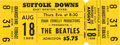 Music Memorabilia:Tickets, The Beatles Suffolk Downs Unused Concert Ticket (1966). . ...