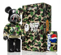 Collectible:Contemporary, BE@RBRICK X BAPE. Shark Hoddie 400% with BAPE Pepsi Cans (Green), 2001; 2015. Painted cast resin with aluminum bottl...