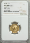 Classic Quarter Eagles: , 1835 $2 1/2 -- Cleaned -- NGC Details. Unc. NGC Census: (15/80). PCGS Population: (3/54). MS60. Mintage 131,402. ...