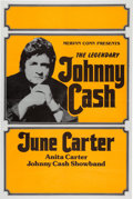 Music Memorabilia:Posters, Johnny Cash Large 1970's Concert Poster w/Wife June Carter. . ...