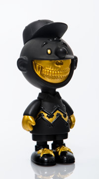 Ron English X Compound X Made by Monsters Charlie Grin (Black/Gold), 2017 Painted cast vinyl 8 x