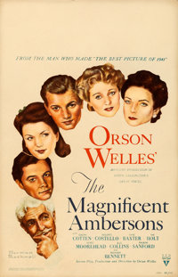 "The Magnificent Ambersons (RKO, 1942). Very Good+. Window Card (14"" X 22""). Norman Rockwell Artwork"