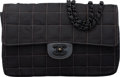 "Luxury Accessories:Bags, Chanel Black Quilted Grosgrain Medium Classic Flap Bag with BlackHardware. Condition: 3. 10"" Width..."