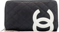 "Luxury Accessories:Accessories, Chanel Black & White Quilted Lambskin Leather Wallet. Condition: 3. 8"" Width x 5"" Height x 1.5"" Depth. ..."