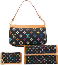 Louis Vuitton Set of Three: Black Monogram Multicolore Pochette, Keychain Pochette, and Long Wallet Condition: 2 See...