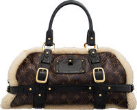 "Louis Vuitton Limited Edition Brown Monogram Patent Leather & Shearling Storm Bag Condition: 2 17"" Width x..."