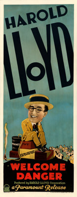 "Welcome Danger (Paramount, 1929). Fine+ on Paper. Insert (14"" X 36"")"