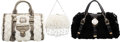 Luxury Accessories:Bags, Versace Set of Three: Black & White Rabbit Fur Bags.Condition: 2. See Extended Condition Report fo...