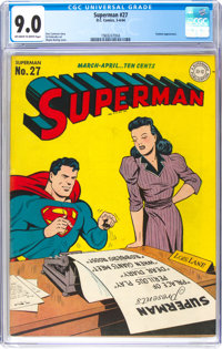 Superman #27 (DC, 1944) CGC VF/NM 9.0 Off-white to white pages