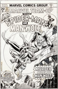 Original Comic Art:Covers, Ed Hannigan and John Romita Sr. Marvel Team-Up #37 Cover Spider-Man and Man-Wolf Original Art (Marvel, 1975)....