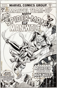Ed Hannigan and John Romita Sr. Marvel Team-Up #37 Cover Spider-Man and Man-Wolf Original Art (Marvel, 1975)
