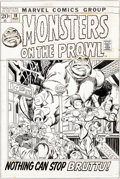 Original Comic Art:Covers, Gil Kane and Vince Colletta Monsters on the Prowl #18 Cover Original Art (Marvel, 1972)....