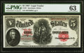 Large Size:Legal Tender Notes, Fr. 91 $5 1907 Legal Tender PMG Choice Uncirculated 63.. ...