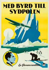"With Byrd at the South Pole (Paramount, 1930). Folded, Very Fine+. Swedish One Sheet (27.5"" X 39.5"") Eric Rohm..."