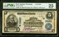 National Bank Notes:Wyoming, Rock Springs, WY - $5 1902 Plain Back Fr. 600 The First NB Ch. # (W)3920 PMG Very Fine 25.. ...