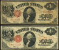 Fr. 37 $1 1917 Legal Tender Two Examples Good-Very Good