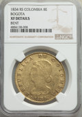 Colombia, Republic gold 8 Escudos 1834-RS XF Details (Bent) NGC,...