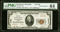 Kemmerer, WY - $20 1929 Ty. 2 The First NB Ch. # 5480 PMG Choice Uncirculated 64